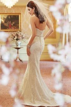 Vestido de novia vendimia Corte Sirena Encaje largo Espalda Descubierta