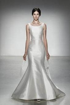 Vestido de novia Cola Panel Fuera de casa Joya Satén Sin mangas Espalda medio descubierto