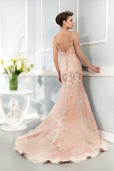 Vestido de novia primavera Natural Espalda medio descubierto Flores