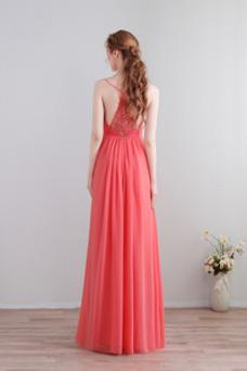 Vestido de dama de honor Baja escote en V Elegante Blusa plisada Escote en V