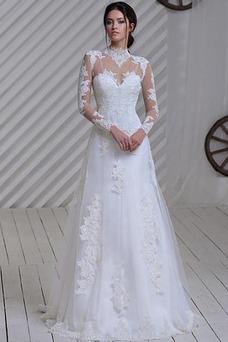 Vestido de novia Manga larga Iglesia Apliques Natural Clasicos Alto cubierto
