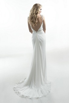 Vestido de novia Cremallera Sin mangas Cola Capilla Moderno Cristal
