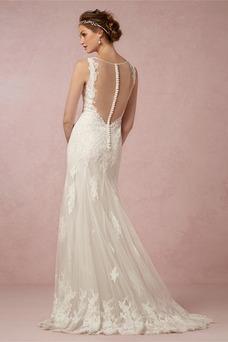 Vestido de novia Sin mangas Apliques Sala Otoño Natural Corte Recto