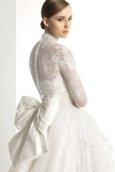 Vestido de novia Manga larga Escote con cuello Alto Fajas Asimètrico