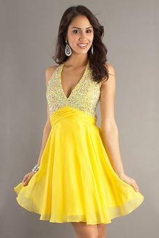 Vestido de graduacion Abalorio Natural Verano Moderno Corto Espalda Descubierta