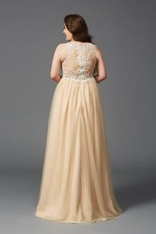 Vestido de noche Elegante Capa de encaje Joya Cremallera Natural Encaje