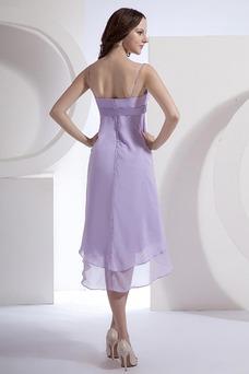 Vestido de dama de honor primavera Pera Escote de Tirantes Espaguetis Gasa Fajas