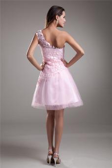 Vestido de cóctel Corto Corte-A Encaje Escote Asimètrico Espalda medio descubierto