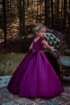 Vestido niña ceremonia Hasta el suelo Satén Joya Corte-A Formal Sin mangas