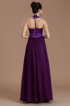 Vestido de dama de honor Hasta el Tobillo Espalda Descubierta Natural Lazos