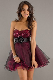 Vestido de graduacion Verano Falta Romántico Capa Multi Borgoña Imperio Cintura