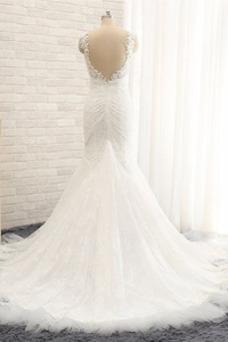 Vestido de novia Fuera de casa Cremallera Escote de Tirantes Espaguetis
