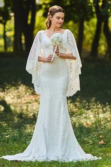 Vestido de novia Corte Sirena largo Cremallera Natural Manga suelta