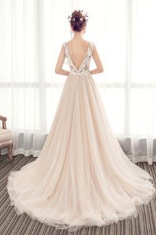 Vestido de novia Espalda Descubierta Cola Barriba Playa Escote en V