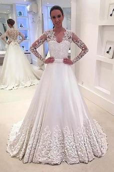 Vestido de novia Mangas Illusion Escote en V Encaje Invierno Iglesia