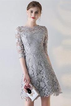 Vestido de cóctel Hasta la Rodilla Joya Capa de encaje Tallas pequeñas