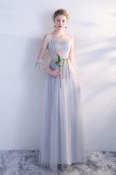 Vestido de dama de honor Mangas Illusion Hasta el suelo Cremallera Elegante