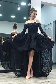 Vestido de noche Encaje Natural Escote con Hombros caídos Asimétrico Dobladillo