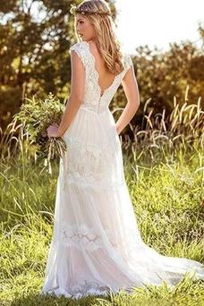 Vestido de novia Encaje Fuera de casa Espalda Descubierta Natural Escote en V