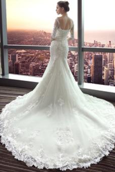 Vestido de novia largo Espalda Descubierta Formal Playa Encaje Corte Sirena