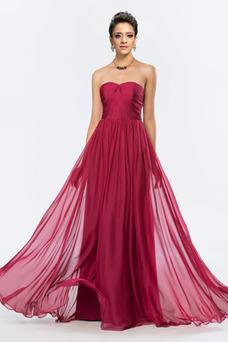 Vestido de noche Elegante Sin cintura Sin tirantes Corte-A Drapeado