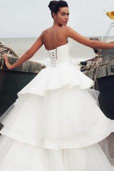 Vestido de novia Natural tul Apertura Frontal Corte-A Asimétrico Dobladillo