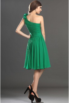 Vestido de graduacion verde Bosque Corte-A Sencillo Oscilación Cintura Baja