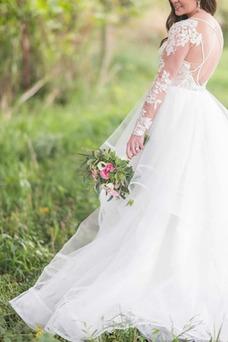 Vestido de novia Espalda con ojo de cerradura Drapeado Hasta el suelo