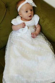 Vestido de Bautizo Manga Globa Tallas pequeñas Joya Corte princesa Alto cubierto
