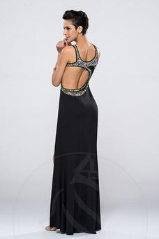 Vestido de noche Escote Asimètrico Espalda Descubierta Cristal Corpiño Acentuado con Perla