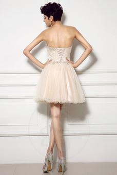 Vestido de cóctel Corte-A Natural Cristal Hasta la Rodilla Verano Corpiño Acentuado con Perla