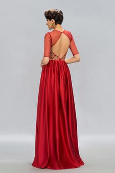 Vestido de fiesta Encaje Corte-A La mitad de manga Hasta el suelo Capa de encaje