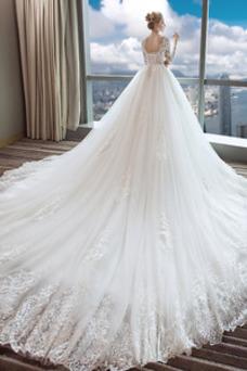 Vestido de novia Manga larga largo Mangas Illusion Invierno Natural