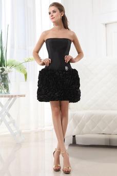 Vestido de noche Corto Rosetón Acentuado tafetán primavera Exclusivo