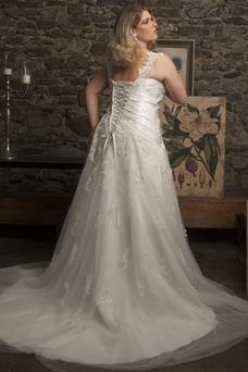 Vestido de novia Cordón Plisado tul Moderno Sala Corte-A