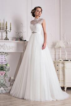 Vestido de novia largo Iglesia Encaje Manga tapada Apliques Corte-A