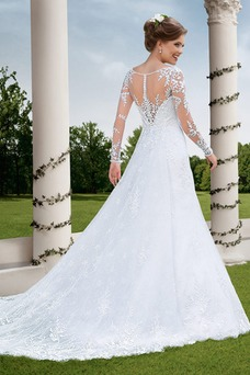 Vestido de novia Sala Natural Alto cubierto largo Apliques Manga larga