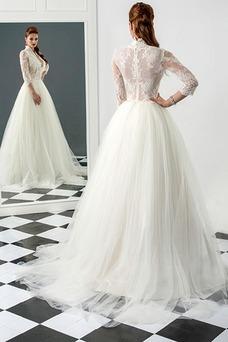 Vestido de novia largo Cristal Otoño Natural Encaje Escote con cuello Alto