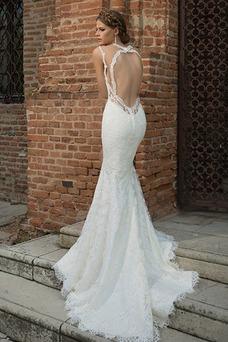 Vestido de novia Corte Sirena Cola Capilla Encaje Natural Fuera de casa