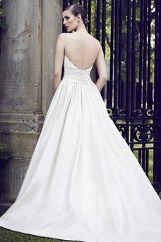 Vestido de novia Sin mangas Satén Cola Capilla Natural Otoño Bolsillos