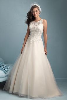 Vestido de novia Modesto Cremallera Otoño Natural largo Sin mangas