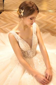 Vestido de novia tul Baja escote en V Abalorio Espalda Descubierta Hasta el suelo