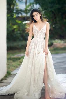 Vestido de novia Drapeado Cremallera Sin mangas Natural Corte-A Romántico
