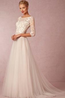 Vestido de novia Corte princesa Barco Alto cubierto Apliques Mangas Illusion