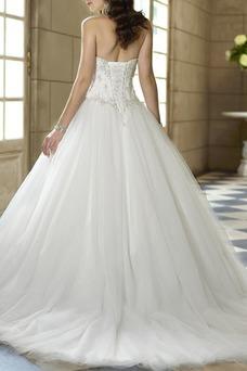 Vestido de novia tul Cola Capilla Escote Corazón Apliques Cordón Iglesia