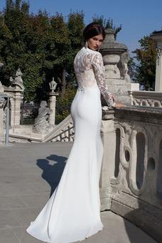 Vestido de novia Satén Elástico Fuera de casa Corte Recto Cola Barriba