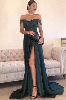 Vestido de noche Satén Elástico Natural Escote con Hombros caídos Corte-A