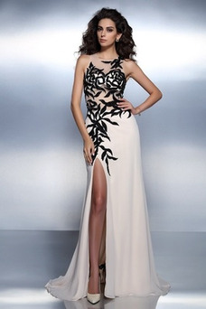 Vestido de noche largo Bordado Elegante Corte-A Cremallera Natural