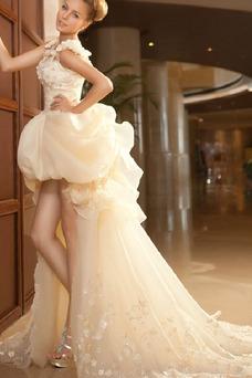 Vestido de novia Abalorio Sin mangas Tiras anchas Alto Bajo Cremallera