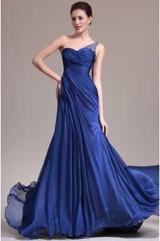 Vestido de noche Sin mangas Elegante azul medianoche Pura espalda Un sólo hombro